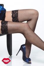 Bas résille Nice : Bas résille à jarretière en dentelle, gainez vos jambes d'un quadrillage très glamour.