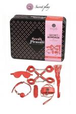 Kit BDSM 8 pièces - rouge : Superbe kit de 8 pièces BDSM présenté dans une boite cadeau en métal.