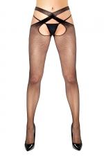 Collant résille ouvert noir Flavia - Anne d'Alès : Collant sexy noir résille avec effet croisé, ouvert à l'entre-jambes, une création Anne d'Ales.
