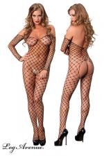 Combinaison Off the Shoulder : Combinaison filet � larges mailles, d�collet�e sur les �paules et largement ouverte sur les fesses.