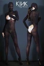 Hooded Opaque Bodystocking : Combinaison cagoule BDSM en voile opaque, ouverte sur les seins et les fesses.
