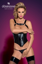 Corset Darksy  : Superbe corset sexy, seins nus, et son string assorti, par Obsessive.