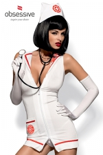 Costume Emergency Dress (avec sth�toscope) : Costume d'infirmi�re tr�s tr�s sexy avec le st�thoscope pour jouer au docteur !