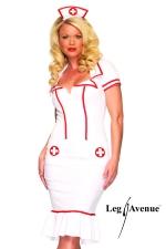 Costume Infirmière Miss Diagnosis : Robe d'infirmière cintrée et sa coiffe assortie.