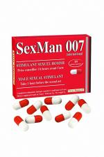 Aphrodisiaque SexMan 007 (10 gélules) : 10 Gélules aphrodisiaques pour hommes, pour booster la virilité et les performances sexuelles.