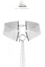 Collier  m�tallique argent� : Le collier Magnifique ajustable en chainettes m�talliques argent�es est � la fois un collier sensuel et un accessoire de bondage.