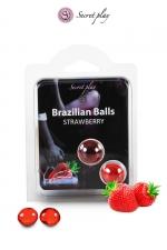 2 Brazillian balls - fraise : La chaleur du corps transforme la brazilian ball en liquide glissant au parfum fraise, votre imagination s'en trouve exacerbée.