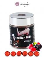 6 Brazillian balls - baies rouges : La chaleur du corps transforme la brazilian ball en liquide glissant au parfum de baies rouges, votre imagination s'en trouve exacerbée.