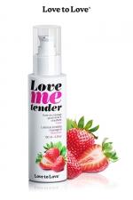 Huile de massage fraise 100ml : Huile de massage comestible goût fraise fabriquée en France par Love to Love.
