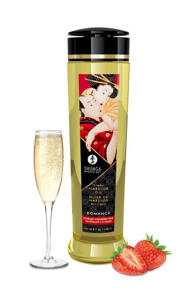 Huile de massage parfum fraise & vin pétillant - Shunga