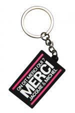 Porte-clés J&M logo rectangulaire : Porte-clés Jacquie & Michel, format rectangulaire, et son slogan incontournable On dit merci qui ? Merci Jacquie & Michel.