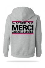 Sweat-shirt Capuche J&M gris  (taille Small) : A la demande générale, voici le sweat à capuche J&M pour compléter votre tenue de fan (modèle gris clair).