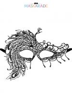 Loup broderie souple crepuscule : Loup noir en dentelle brodée souple avec une forme asymétrique, pour vos soirées déguisées ou coquines, par Maskarade.