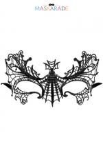 Loup broderie souple AUBE : masque noir en dentelle brodée souple, pour vos soirées déguisées ou coquines, par Maskarade.