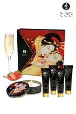Coffret Secret de geisha vin pétillant à la fraise : Coffret signé Shunga pour une soirée érotique inoubliable ou un cadeau érotique et sensuel.