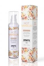 Huile de massage chauffante vanille : Huile de massage chauffante et gourmande au goût vanille, flacon de 50 ml, marque Exsens.