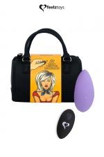 Stimulateur télécommandé Panty Vibe violet - FeelzToys : Présenté dans un superbe mini sac à main, Feelztoys vous propose un stimulateur clitoridien télécommandé très puissant.
