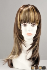 Perruque Kate : Perruque mi-longue effilée en cheveux synthétiques réalistes. Une métamorphose pleine de féminité.