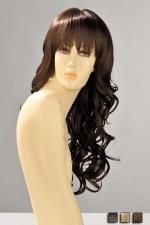 Perruque Zara : Perruque longue ondulée aux boucles souples et légères, avec une frange droite effilée qui souligne le regard.