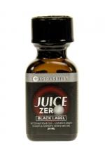 Poppers Juice Zero Black Label 24 ml : Un poppers hybride très puissant contenant à la fois de l'Amyle et du Propyle, avec flacon Méga Pellet et bouchon sécurisé.