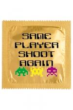 Préservatif humour - Same Player Shoot Again : Préservatif Same Player Shoot Again, un préservatif personnalisé humoristique de qualité, fabriqué en France, marque Callvin.