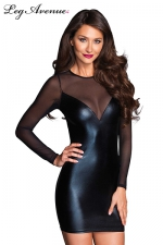 Robe Jacky : Petite robe simple moulante noire, manches et dos en voile transparent.