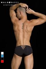 Crossed bikini MaleBasics : Slip homme fantaisie, un V retenu par des croisillons forme une ouverture sexy sur les fesses.