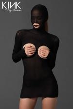 Mini robe Masked Cupless : Mini robe fetish en voile opaque, avec cagoule int�gr�e ouverte sur la bouche, seins et fesses nues.